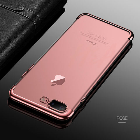 H&A Luxury Plating Clear Case For iPhone 6 6s 7 8 X Transparent Silicon Phone Case For iPhone 7 8 6 6S Plus Soft TPU Back Cover