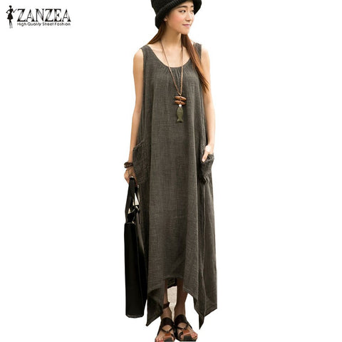 Newest ZANZEA 2018 Summer Women Casual Loose Sleeveless Vintage Long Maxi Dress Irregular Party Dresses Vestidos