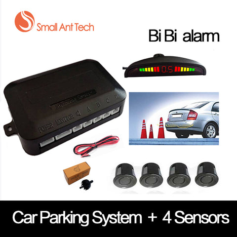SmallAntTeach Universal Car LED Parking Sensor With 4 Sensors Car Sensor Reverse Assistance Backup Radar Monitor Detector System