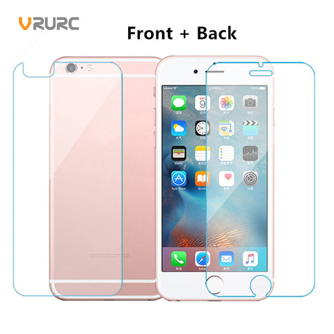 VRURC Front+Back 2.5D 9H Tempered Glass Screen Protector For iPhone 6 Glass iphone 7 Glass 4 4S 5 5S 6S 7 8 Plus Protective Film