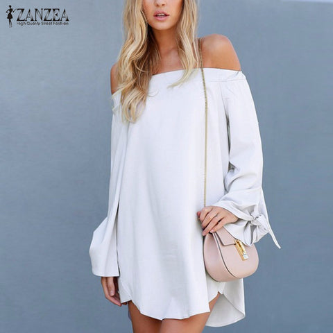 ZANZEA Sexy Mini Women Short Dress  2016 Off Shoulder Slash Neck Long Bowknot Sleeve Tops Casual Loose Solid Ladies Vestidos