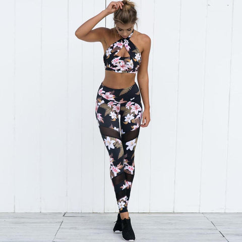 Yoga Pants Women Sport Running Leggings Floral Print Female Workout Training Tights