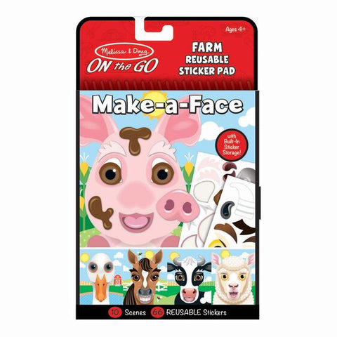 Make-a-Face - Farm Reusable Sticker Pad - On the Go Travel Activity