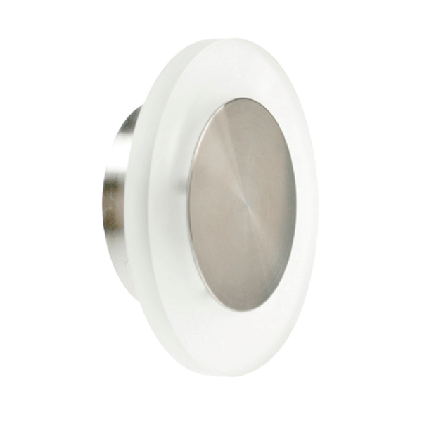 Mains (230v) 1.5w Led 126mm Round Wall Light - White Led / Brushed Stainless Steel