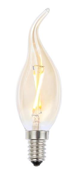 Vintage SES Tinted Bent Tip Candle LED Filament Lamp (Light Bulb) 2200K