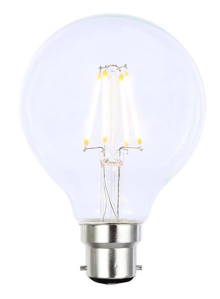Vintage G80 BC Clear Dimmable LED Filament Lamp (Light Bulb) 2200K