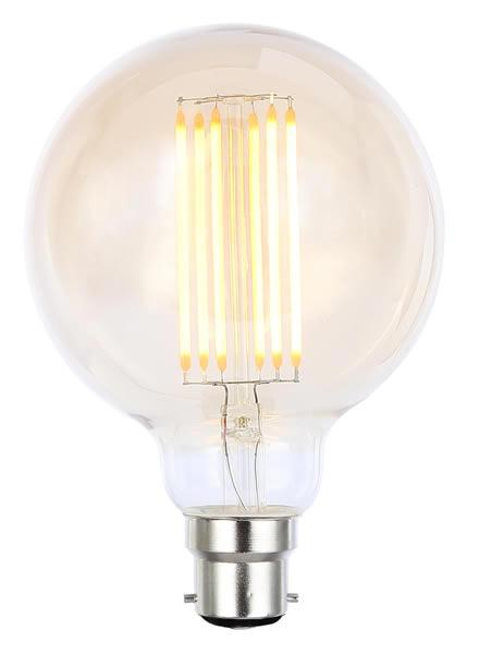 Vintage G95 BC Tinted Dimmable LED Filament Lamp (Light Bulb) 2200K