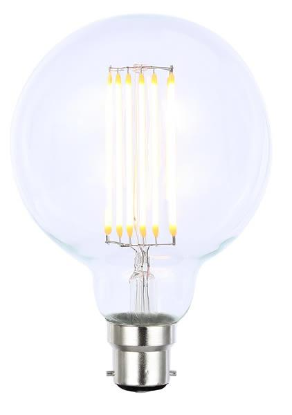 Vintage G95 BC Clear Dimmable LED Filament Lamp (Light Bulb) 2200K