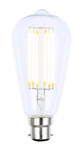 Vintage ST64 BC Clear Dimmable LED Filament Lamp (Light Bulb) 2200K