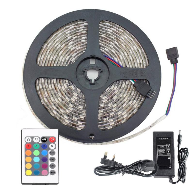 RGB LED 5 METRE STRIP LIGHT KIT - WITH REMOTE CONTROL & ADAPTOR PLUG