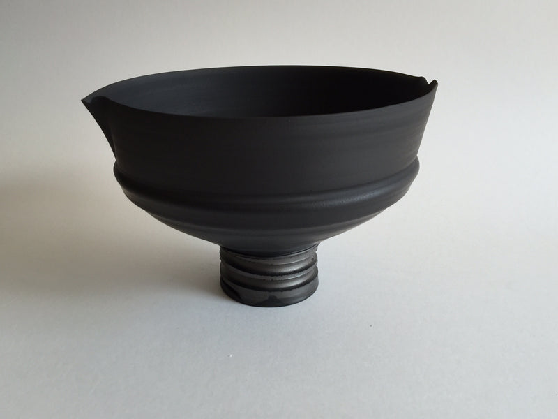 Black Straight Sided Bowl with Altered Rim on a Spiral Cut Base