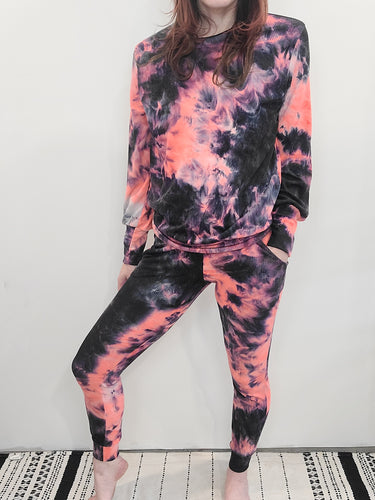 Neon Tie Dye Ribbed Lounge Jogger- FINAL SALE