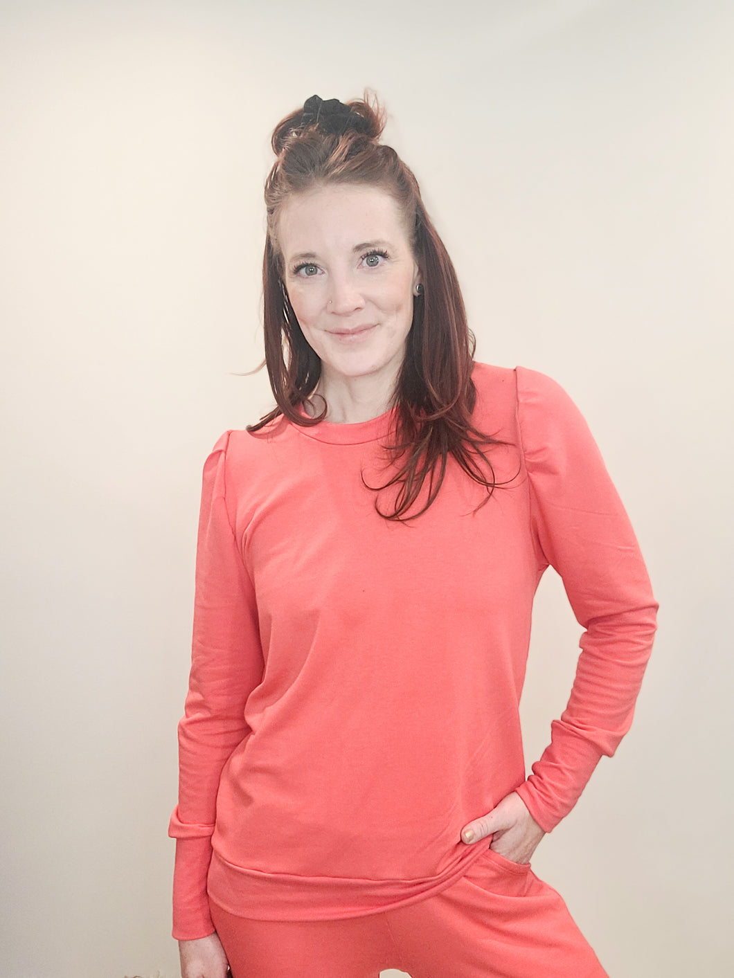 Coral Sweetheart Lounge Top
