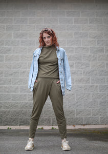 Back to Basics- Army Green Wrap Front Trouser