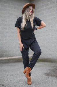 Back to Basics- Black Wrap Front Trouser