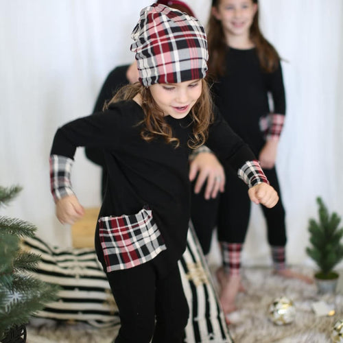Preorder- Holiday Kids Plaid Romper (WINE AND GREEN)