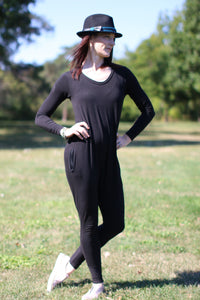 Long Sleeved #GIRLBOSS Romper (in Basic Black)