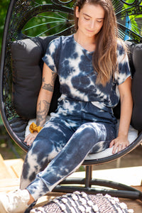 Lounge Jogger- Black/Blue and White Tie Dye