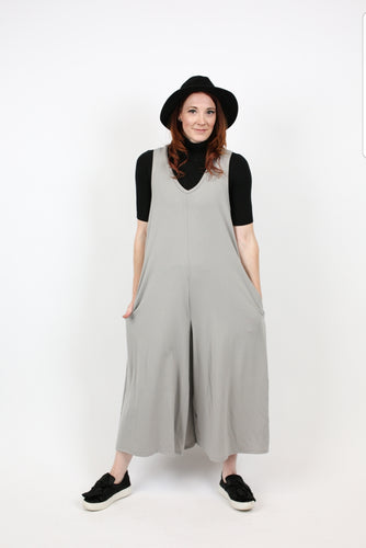 Grey Wide Leg Capri Romper