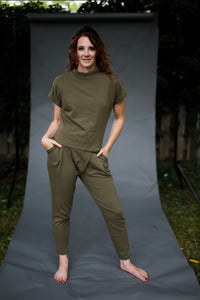 Back to Basics- ArmyGreen Mock Neck Top