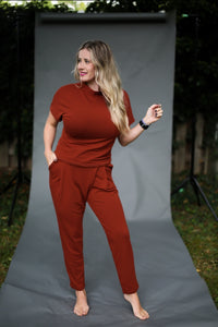 Back to Basics- Rust Wrap Front Trouser