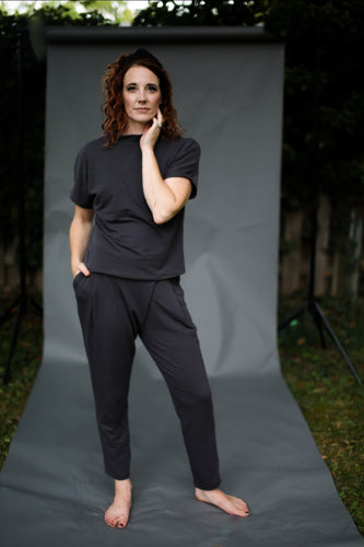 Back to Basics- Charcoal Wrap Front Trouser