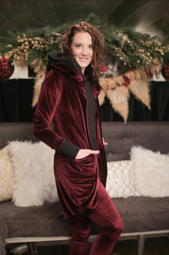 Virtual Hug Cardigan- Merlot Velvet