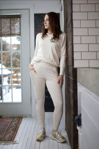 Slim French Terry Jogger- Creamy Ivory