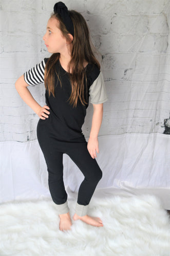 Short Sleeved Terry Kidboss Romper- black and grey