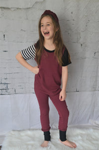 Short Sleeved Terry Kidboss Romper- Wine