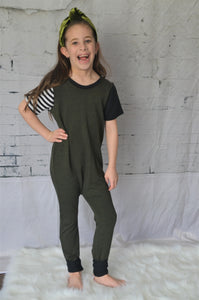 Short Sleeved Terry Kidboss Romper- Forest