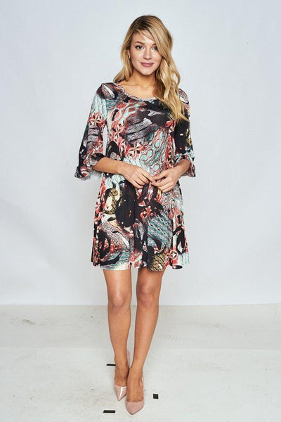 Ruffle Sleeve O-Neck Dress