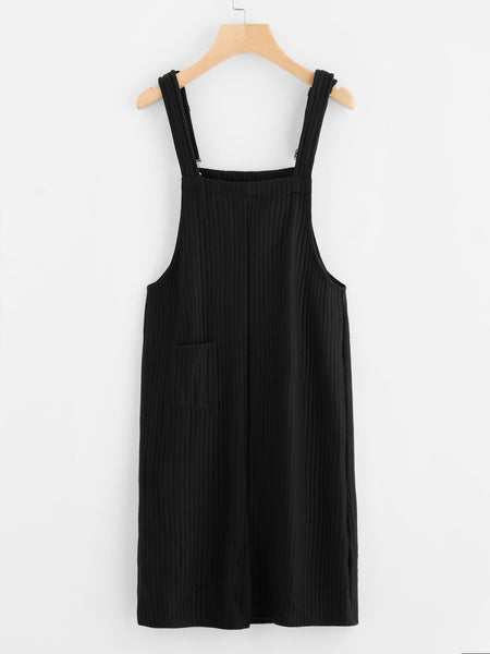 Pocket Front Ribbed Pinafore Dress