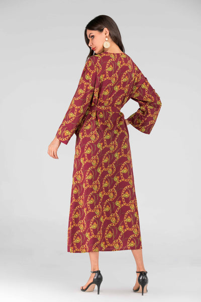 Chain Print Pocket Detail Belted Abaya Dress