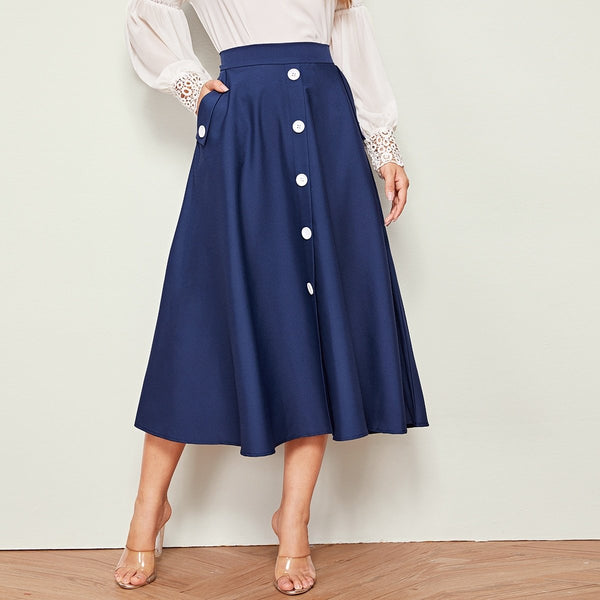 Button Front Dual Pocket Flare Skirt
