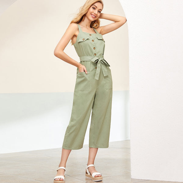 Solid Double Pocket Belted Cargo Jumpsuit