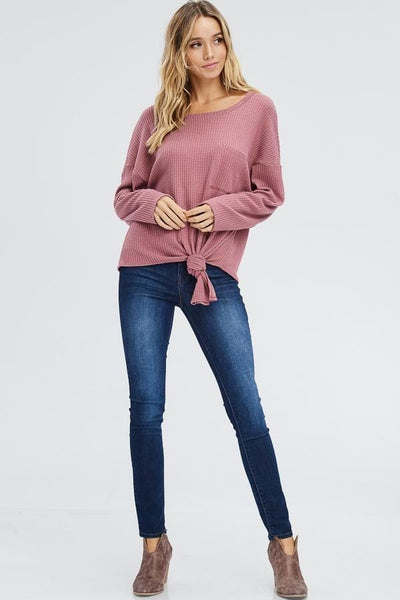 Drop Shoulder Front Tie Knitted Sweater