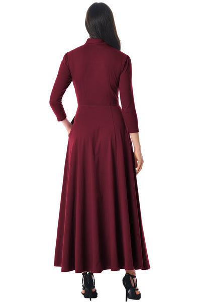 Burgundy Pocketed 3/4 Sleeves Tie Neck Maxi Dress