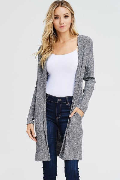 Long Sleeve Ribbed Knitted Cardigan