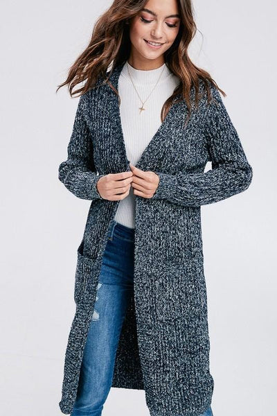 Amelia - Marle Knit Long Cardigan with Pockets