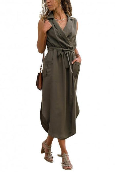 Army Green Sleeveless Pockets Shirt Long Dress
