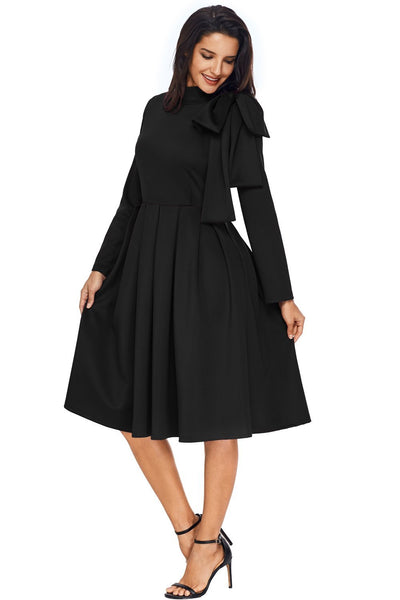 Black Bowknot Embellished Mock Neck Pocket Skater Dress