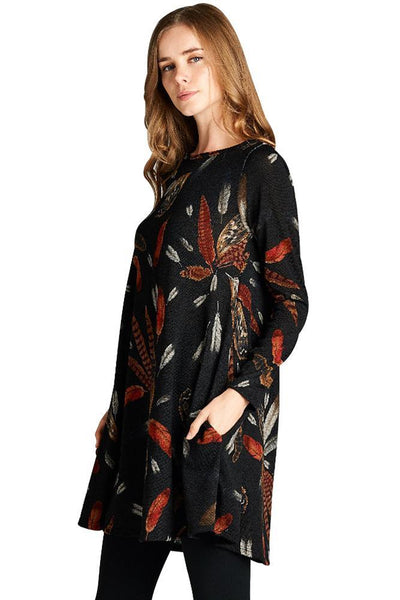 Black Feather Graphic Print Pocket Tunic Dress