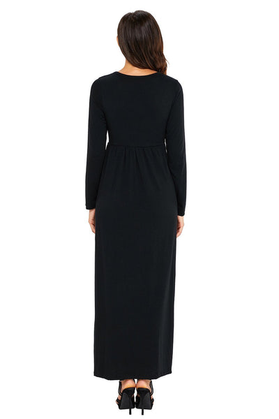 Black Long Sleeve Pocket High Waist Maxi Jersey Dress
