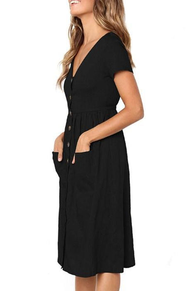 Black Stylish Button Front Midi Dresses