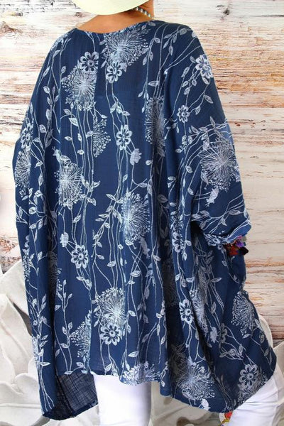 Blue Floral Pockets Cotton Linen Tunic Top