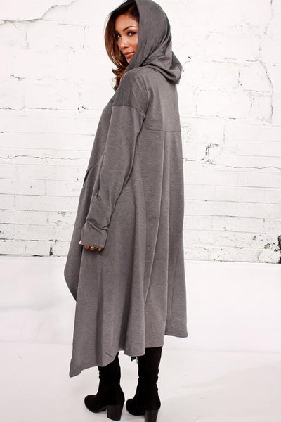 Brooklyn - Cowl Neck Pouch Pocket Asymmetric Hem Sweater
