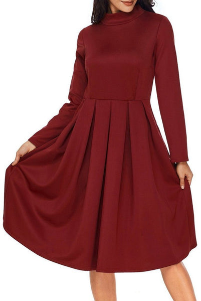 Pocket Style High Neck Long Sleeve Dress