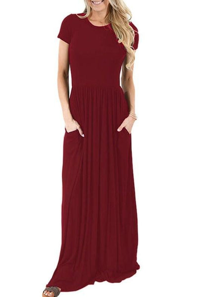 Short Sleeve Ruched Waist Pockets Maxi Dress