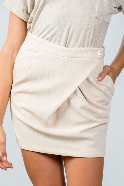 Ladies Fashion Beige Button Closure Front Skirt with Side Pockets